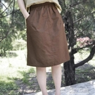 夏季新款文藝休閒薄款棉麻高腰半身裙中裙女夏季新寬鬆顯瘦百搭 夏季新品