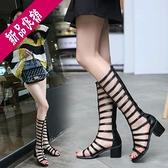 夏季涼靴2020新款顯瘦英倫女鞋高筒涼鞋女粗跟綁帶露趾長筒涼靴