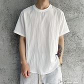 新款夏季短袖t恤男亞麻潮流冰絲上衣棉麻料百搭寬鬆半袖冰感 有緣生活館
