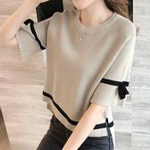 冰絲T恤春夏季2020新款女裝寬鬆針織衫韓版百搭網紅短袖T恤上衣服 浪漫西街