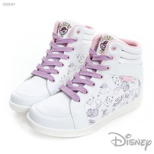 Disney 搖滾夢境 妙妙貓內增高休閒鞋-白