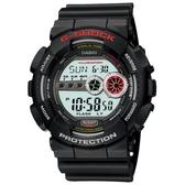 【CASIO】 G-SHOCK 強悍菱格壓紋造型錶-黑X紅(GD-100-1A)