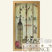 【Lawrence羅蘭絲】歐美情懷木框(玻璃面板)復古時鐘(27x51cm) 鄉村歐美 壁掛掛鐘 居家佈置 裝飾畫