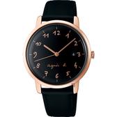 agnes b. 聖誕限定法式時尚手錶-黑/38mm VJ32-KEF0C(BG8010X1)