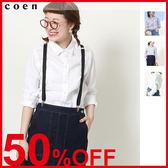 白襯衫 女亞麻襯衫 直條紋 上班 女襯衫 日本品牌【coen】