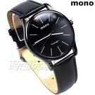 mono 簡約 高雅 設計美學 藍寶石水晶 真皮錶帶 小羊皮 男錶 IP黑電鍍 5003BIP槍大