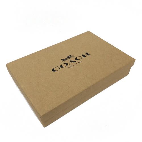 【COACH】經典C LOGO 防刮PVC皮革短夾附鑰匙圈活動證件夾禮盒(黑褐)