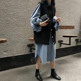 初秋新款兩件套連身裙泡泡袖洋氣燈籠袖牛仔馬甲襯衫裙套裝女 亞斯藍