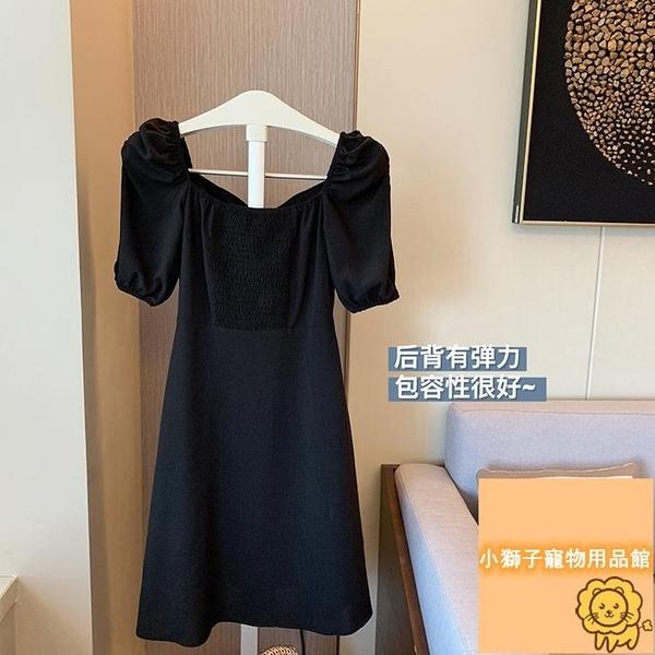 復古女夏收腰氣質顯瘦小黑裙連身裙女短袖【小狮子】