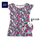 Gap女嬰幼童 印花荷葉邊柔軟休閒短袖T恤 259379-藍色花朵圖案