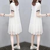 網紅洋氣孕婦裝辣媽潮年新款雪紡洋裝寬鬆時尚潮媽夏天裙子