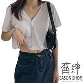EASON SHOP(GW6365)實拍百搭純色薄款短版露肚臍下襬捲邊前排釦V領短袖T恤女上衣服顯瘦內搭衫素色棉T