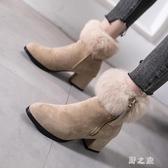 中跟短靴鞋子女秋冬網紅女靴休閒加絨保暖粗跟尖頭毛毛馬丁靴 EY9957 【野之旅】