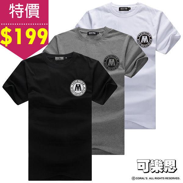特價出清$199『可樂思』圓標 M 字母 圖樣 圓領 短袖T恤-共三色【BM-T5467】
