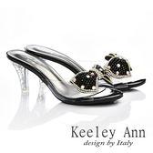 ★零碼出清★Keeley Ann 風華閃爍~蝴蝶鑽珠透明細跟涼鞋(黑色)