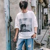 【雙11】夏季新款街頭風個性印花短袖T恤正韓男士寬鬆青年休閒圓領半袖潮折300
