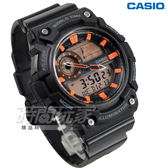 CASIO卡西歐 AEQ-200W-1A2 世界地圖時間設計雙顯運動錶 男錶 防水手錶 黑X橘 AEQ-200W-1A2VDF