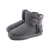 雪靴 短靴 刷毛 保暖 短統雪靴  灰色 麂皮 女鞋 no112