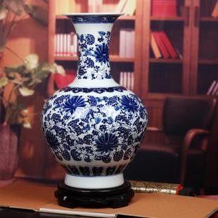 景德鎮陶瓷器青花瓷賞瓶 富貴蓮藤