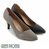 U50-20418 女款尖頭高跟鞋  斜口剪裁金屬邊條壓紋全真皮尖頭高跟鞋【GREEN PHOENIX】
