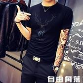 2020夏季短袖男T恤韓版個性潮修身半袖黑色緊身社會小伙體恤 自由角落