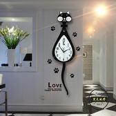 搖尾貓咪鐘錶掛鐘客廳臥室掛錶石英時鐘—聖誕交換禮物