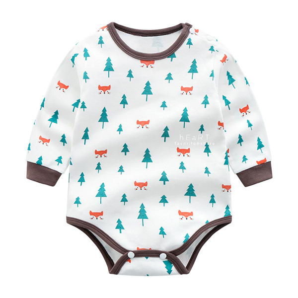 狐狸小樹印花長袖三角包屁衣 連身服 兔裝 哈衣 嬰兒服