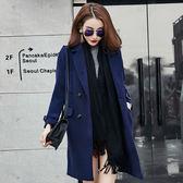 ★韓美姬★中大尺碼~雙排扣中長款毛呢大衣外套(XL~5XL)