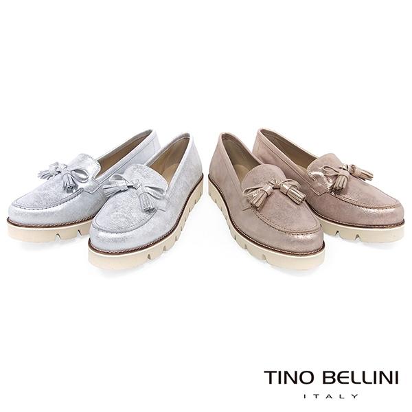 Tino Bellini 西班牙進口炫彩小流蘇蝴蝶結厚底莫卡辛鞋 _ 銀白 A83021 歐洲進口款