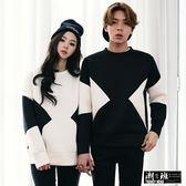 『潮段班』【HJ00H025】韓版 太空棉 黑白拚色 黑白撞色 長袖T恤 情侶裝