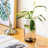 魚缸 創意懶人魚缸小型迷你辦公室桌面透明玻璃生態金魚缸圓形 1色