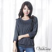 Victoria LOGO寬鬆蝙蝠七分袖T-女