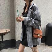 秋季女裝韓版復古百搭格子長袖上衣寬鬆中長款西裝外套女 深藏blue