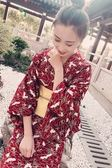 日本改良和服女浴袍衣長款日式外套寫真【奇趣小屋】