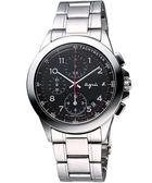 agnes b. 閃耀自我三眼計時腕錶-黑 7T92-0LY0D(BF8319P1)