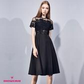 【SHOWCASE】名媛點點網紗肩鏤空蕾絲合身洋裝(黑)