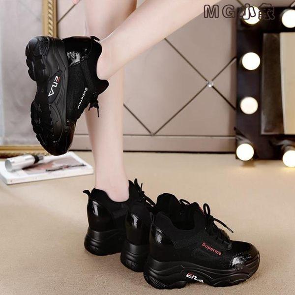 MG 厚底鞋女-黑色女冬款加絨保暖鬆糕休閒坡跟運動鞋女厚底內增高棉鞋