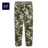 Gap女童 Logo側邊條紋休閒褲 472158-墨綠