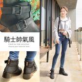 Ann'S歐美份量感-立體雙扣帶平底短靴