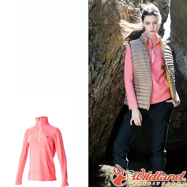 Wildland 荒野 0A52501-22蜜桃紅 女彈性PILE保暖衣 輕量/爬山健行休閒衫/保暖衣