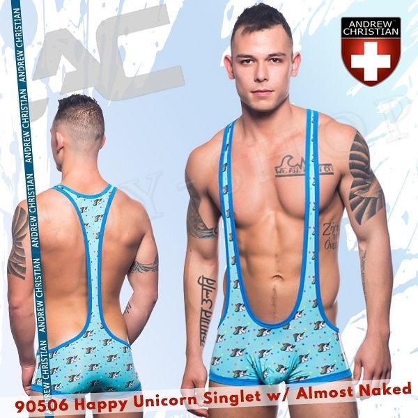 美國Andrew Christian 90506 Happy Unicorn Singlet w/ Almost Naked勁裸系列快樂獨角獸連身背心式四角褲