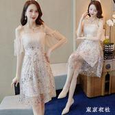 仙氣洋裝小禮服裙新款韓版吊帶生日派對晚宴名媛聚會洋裝 QQ29811『東京衣社』