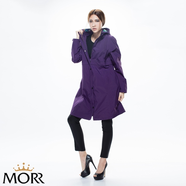 【MORR】Herench英倫風防水透氣風衣 【午夜紫】防水/透濕/透氣/戶外活動