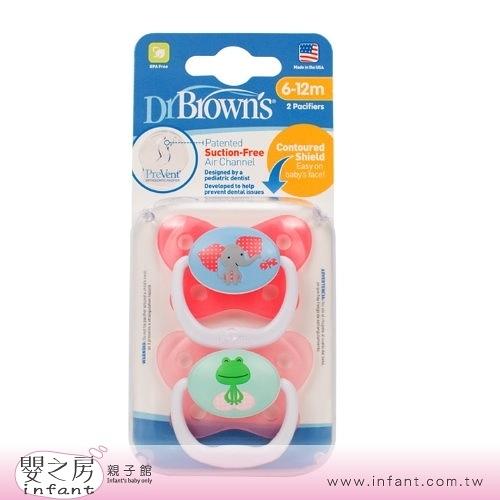 【嬰之房】Dr. Brown s布朗博士 PreVent功能性安撫奶嘴 6-12M(2入-粉)