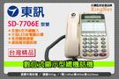 監視器 東訊 SD-7706E 來電顯示 話機 6鍵和絃 總機 支援6支外線 DX-616A 台灣精品 台灣安防