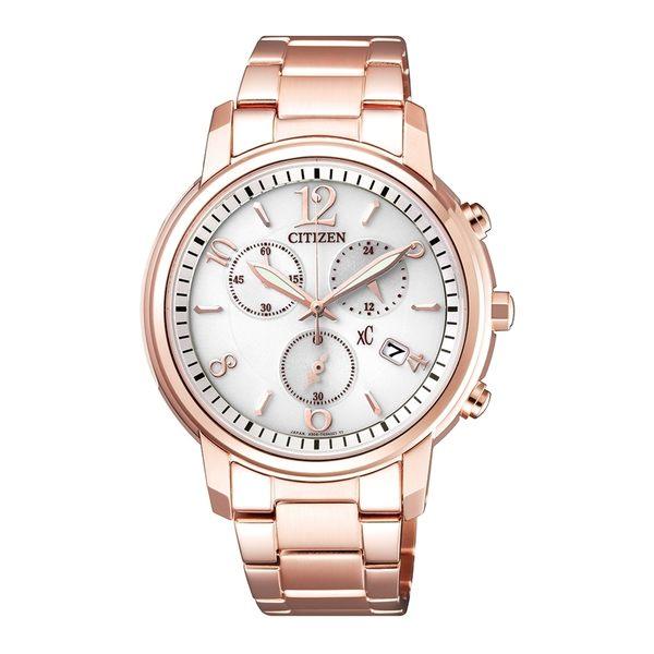 【時間道】[CITIZEN。星辰]xC三眼數字刻光動能腕錶/白面玫瑰金鋼(FB1432-55A)免運費