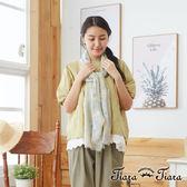 【Tiara Tiara】百貨同步aw 葉紋刺繡純棉五分袖上衣(藍/綠/黃)
