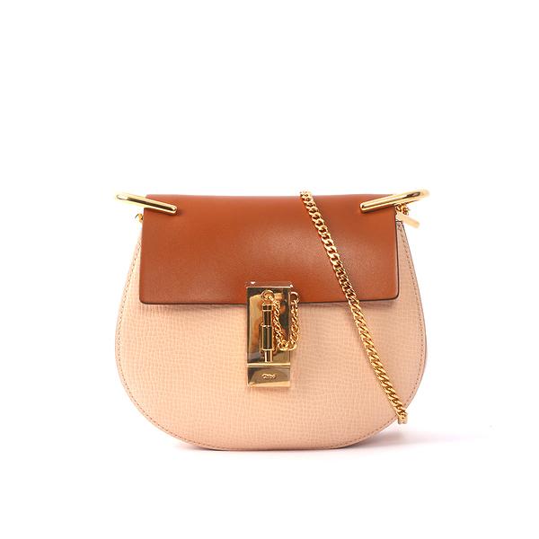 【CHLOE】山羊皮金鏈mini drew bag (焦糖/粉 拚色)3S1032 HOX BDR