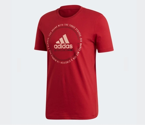 Adidas MUST HAVES EMBLEM TEE 男款紅色短袖休閒上衣-NO.ED7274