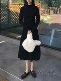 秋裝女裝文藝復古風顯瘦高領修身純色百搭長袖洋裝學生中長裙子 衣櫥秘密